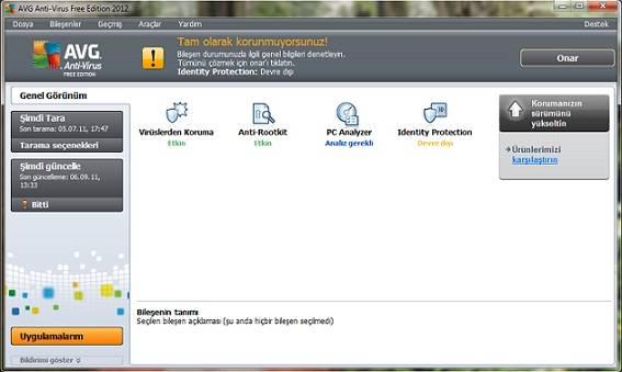 Ücretsiz antivirüs AVG 2012 daha hızlı