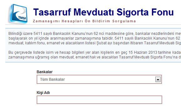 Eski unutulan banka hesapları sorgulama