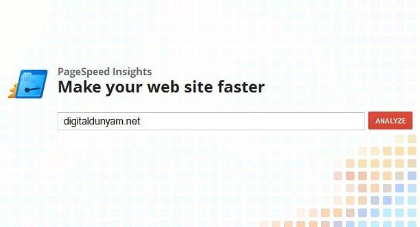 Google web site hız testi