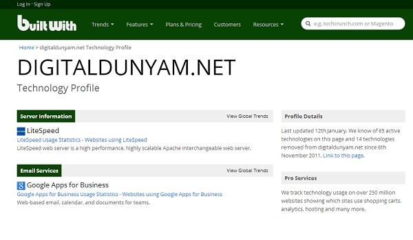 Builtwith ile web site teknolojisini öğrenin