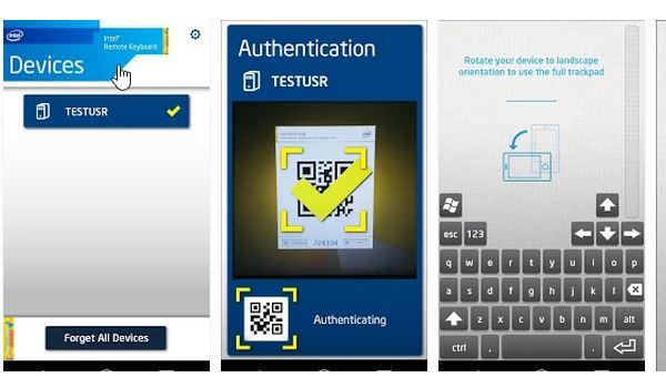 Intel kablosuz android klavye-mouse uygulaması