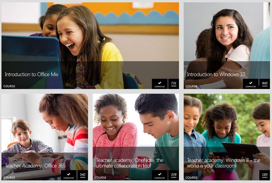 Screenshot of MS Educator courses