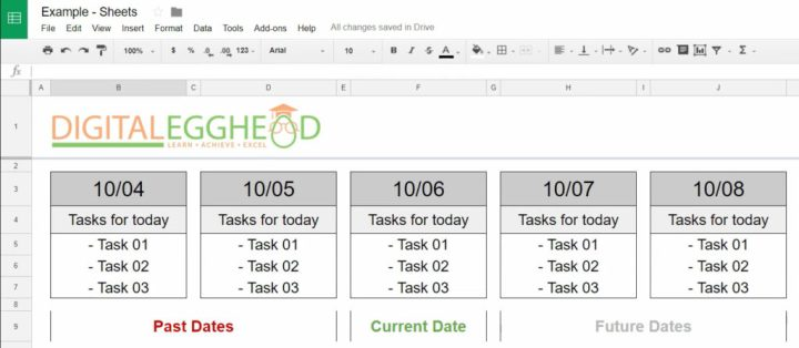 Google Sheets - Conditional Date Formatting - 00 Example