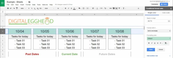 Google Sheets - Conditional Date Formatting - 02 Panel