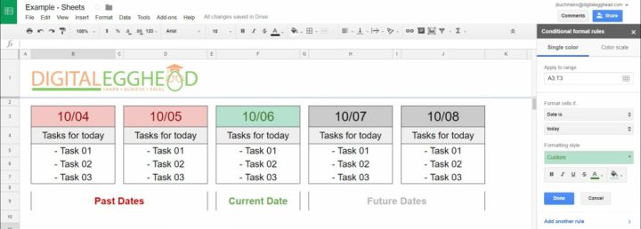 Google Sheets - Conditional Date Formatting - 07 Example