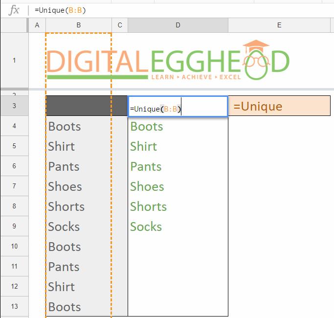 Google Sheets Tips - Remove Duplicate Items - 04 Unique List