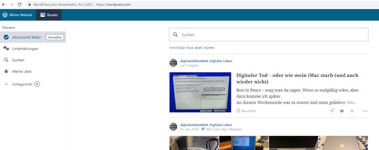Komfortable Bedienungsoberfläche im Browser von WordPress.com