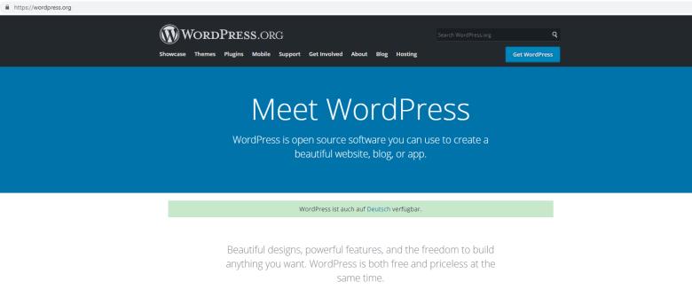 Screenshot der WordPress-Webseite im Jahr 2019. Digitales Leben in Vergangenheit, Gegenwart und Zukunft