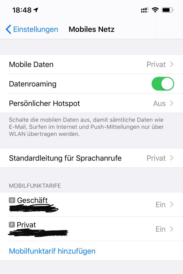 Einstellung der beiden SIMs im iPhone