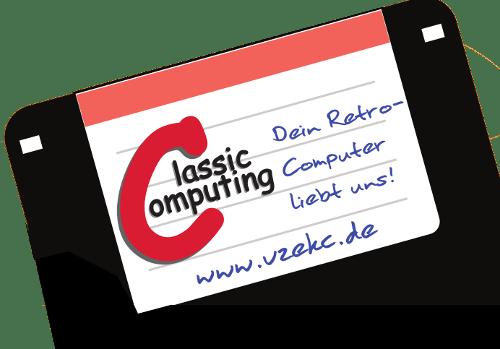 "3,5"" Diskette mit Classic Computing Label. Werdet Mitglied im VzEkC e.V. www.vzekc.de."