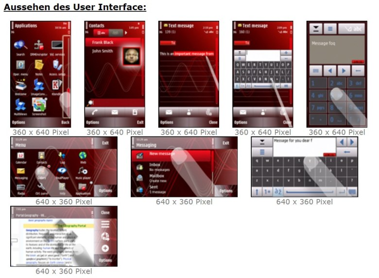 Screenshots von Symbian. Die erste Version mit Touch-Bedienung.