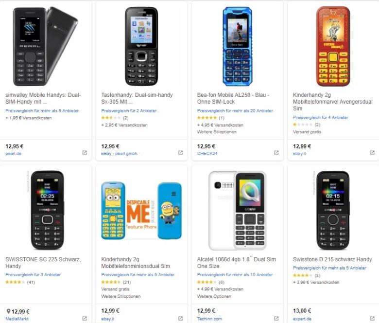 Eine Übersicht von Feature Phones. Auch heute noch zu finden. Das Zeitalter der Mobiltelefone