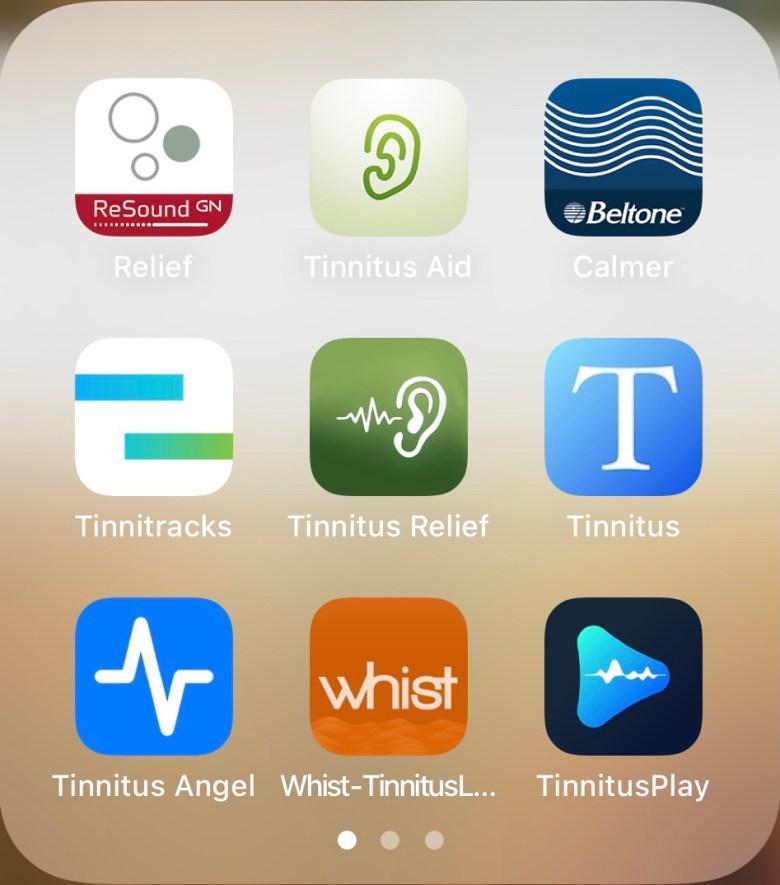 Auswahl von Tinnitus-Apps im Apple Apps Store