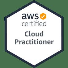 Logo für die Aws Cloud Practitioner Zertifizierung. Digitales Leben in Vergangenheit, Gegenwart und Zukunft