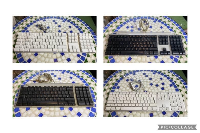 Collage von Apple Desktoptastaturen der Jobs Ära. Entwicklung der Computertastaturen
