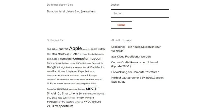 Die Gutenberg-Blocks Schlagwort-Wolke und Suchfeld. Digitales Leben Reloaded