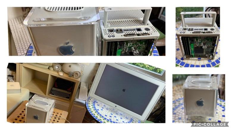 Eine Kollage von Fotos zum Power Mac Cube G4. Apple Probleme und Lösungen