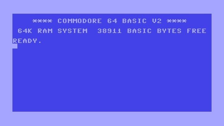 Startscreen vom C64 mit seinen 38911 Basic Bytes free