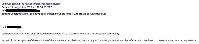 Email von Geocaching.com einen eigenen Adventure Labcache zu erstellen. Erfahrungsbericht Labcache