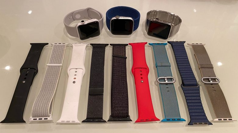 Meine drei Apple Watches. Series 0, Series 2 und Series 4 mit einer Auswahl an Apple Watchbands. Gold Apple Watch