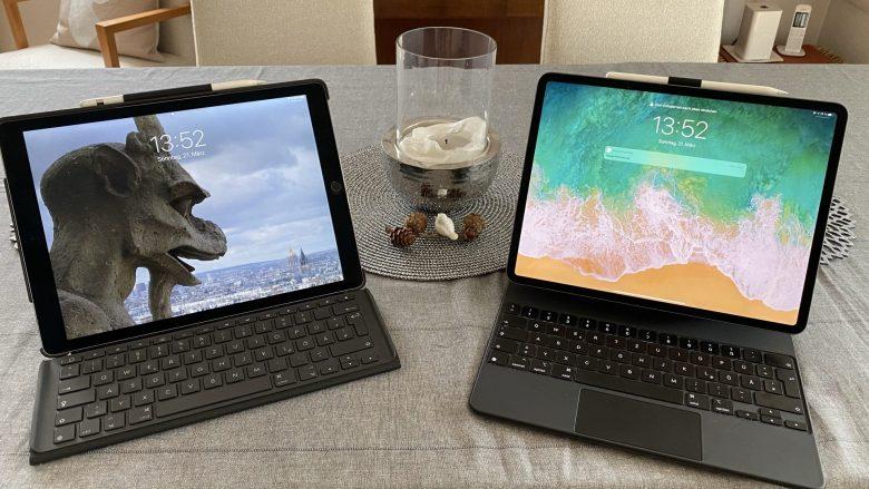 IPad Pro 2015 und iPad Pro 2020 mit Tastaturen nebeneinander. Apple Probleme und Lösungen