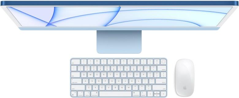 Der IMac 2021 kommt auch mit Tastatur und Maus oder Trackpad in der passenden Gehäusefarbe
