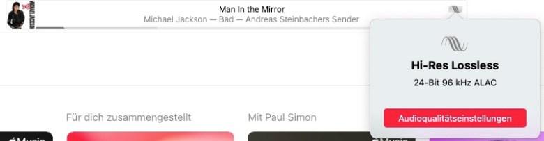 Anzeige der Audioqualität: Man in the Mirror von Michael Jackson als Hi-Res Lossless 24-Bit 96 kHz ALAC