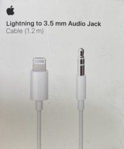 Adapterkabel Lightning (am AirPods Max) zu 3,5mm Audioklinkenstecker. AirPods Max Audiogramm