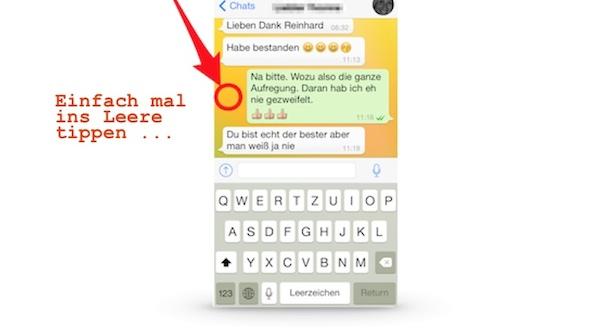 Tastatur ausblenden bei WhatsApp (und bei iMessage und Facebook Messenger)