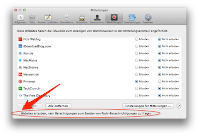 Safari Push Notifications abschalten