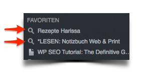 Evernote Gesicherte Suche als Favoriten