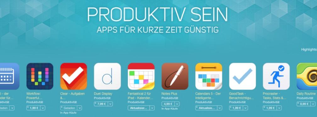 Produktiv-Apps Preis-Aktion