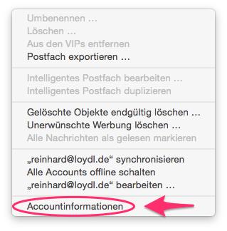 Dropdown: Accountinformationen