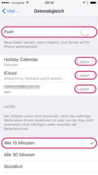 iOS 9: Einstellungen > Datenabgleich