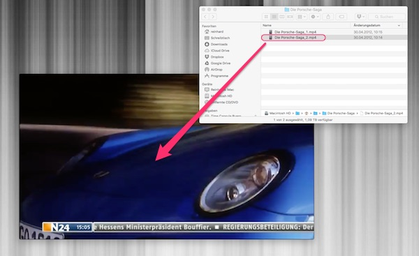 Drag-and-Drop aufs QuickTime Player Fenster