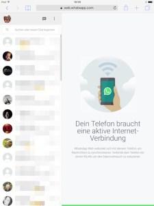WhatsApp Web braucht aktive Internet-Verbindung