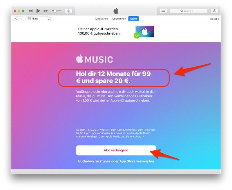 Apple Music Jahresabo 20 Euro sparen