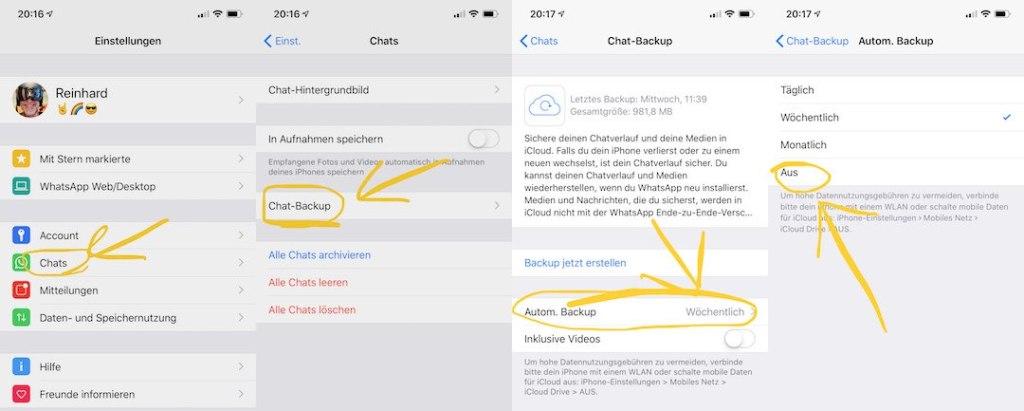 WhatsApp Backup ausschalten