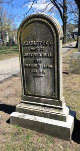 Charlotte Cowles' grave in Riverside Cemetery in Farmington