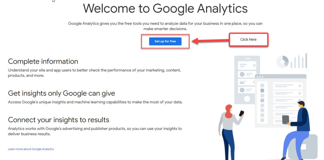 Google Analytics set up page