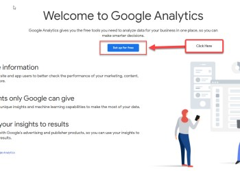 Google Analytics set up page