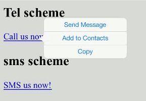 Click to call, sms via html