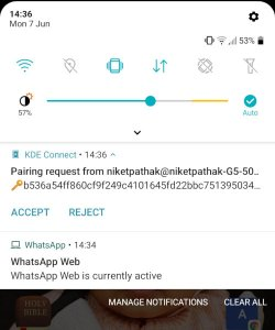 KdeConnect - Accept Pairing