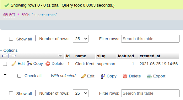 superheroes api - post phpmyadmin results