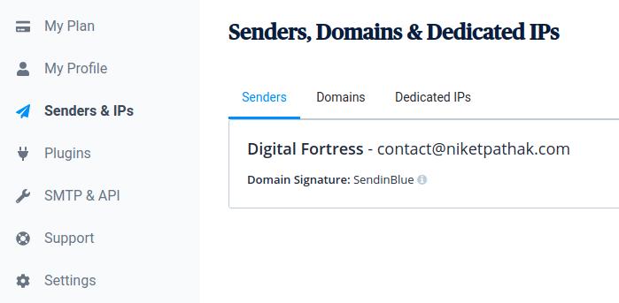SendinBlue - senders Tab