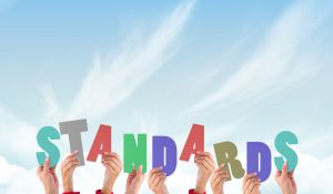 IMG ALT: Hand in the air holding letters that spell out STANDARDS