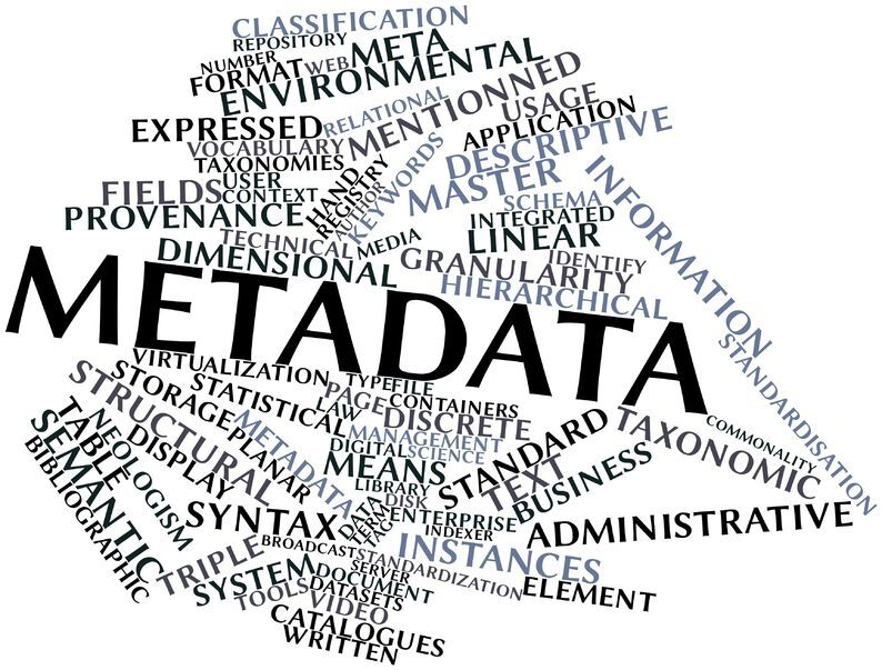 Infographic depicting various words piled on top of each other. The words include: metadata, storage, structural, table, instances, descriptive, classification, repository