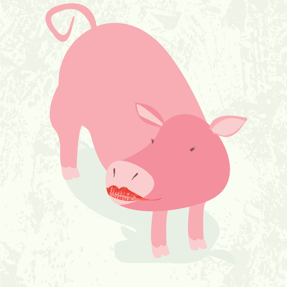 Illusration that shows a pink pig wearing lipstick.