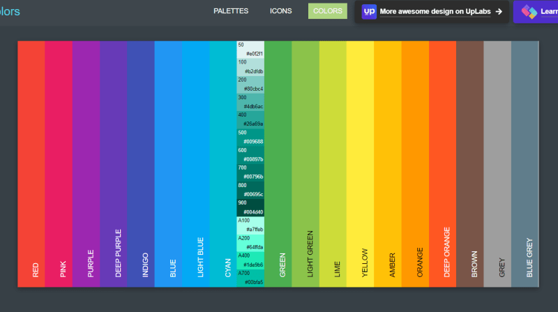 material pallete colors