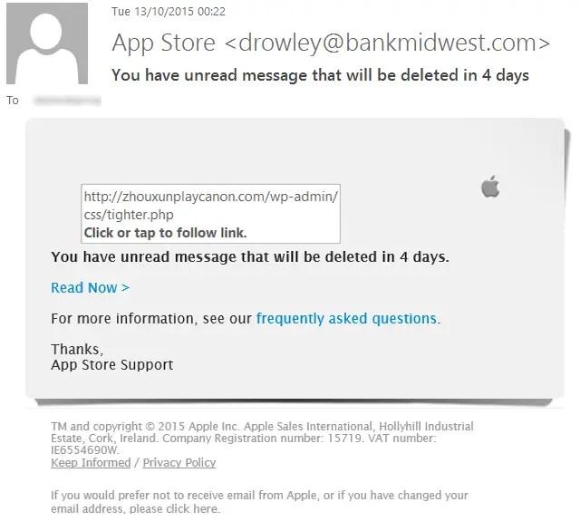 spot online fakes - Apple Phishing Email